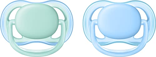 Philips Avent Ultra Air Pacifier for Boy, 0-6 Months, Blue/Green, 2 Pack SCF244/20