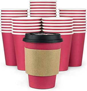 Glowcoast Disposable Coffee Cups With Lids - 12 oz To Go Coffee Cup (110 Pack). Large Travel Cups Hold Shape With Hot and Cold Drinks, No Leaks! Paper Cups with Insulated Sleeves Protect Fingers!