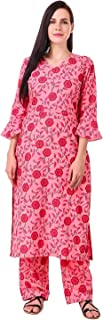 MEVE WOMEN'S COTTON PINK SALWAR KURTA SET WITH BELL SLEEVES (52)