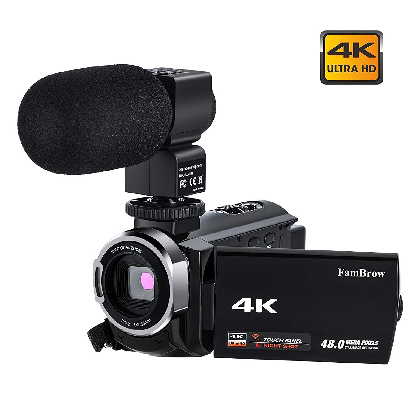 4K Camcorder Video Camera with Microphone, FamBrow Ultra HD 4K 48MP WiFi IR Night Vision 3.0 Inch 270 Degrees Rotatable Touch Screen 16X Digital Zoom Vlogging Camera Recorder for YouTube 2 Batteries