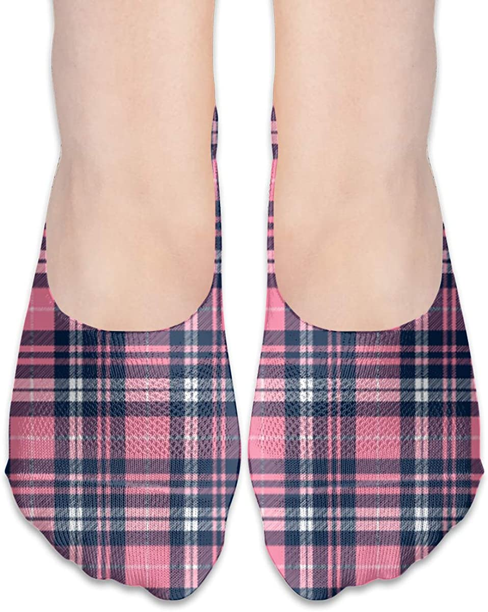No Show Socks Women Men For Wallace Pink Navy Tartan Flats Cotton Ultra Low Cut Liner Socks Non Slip