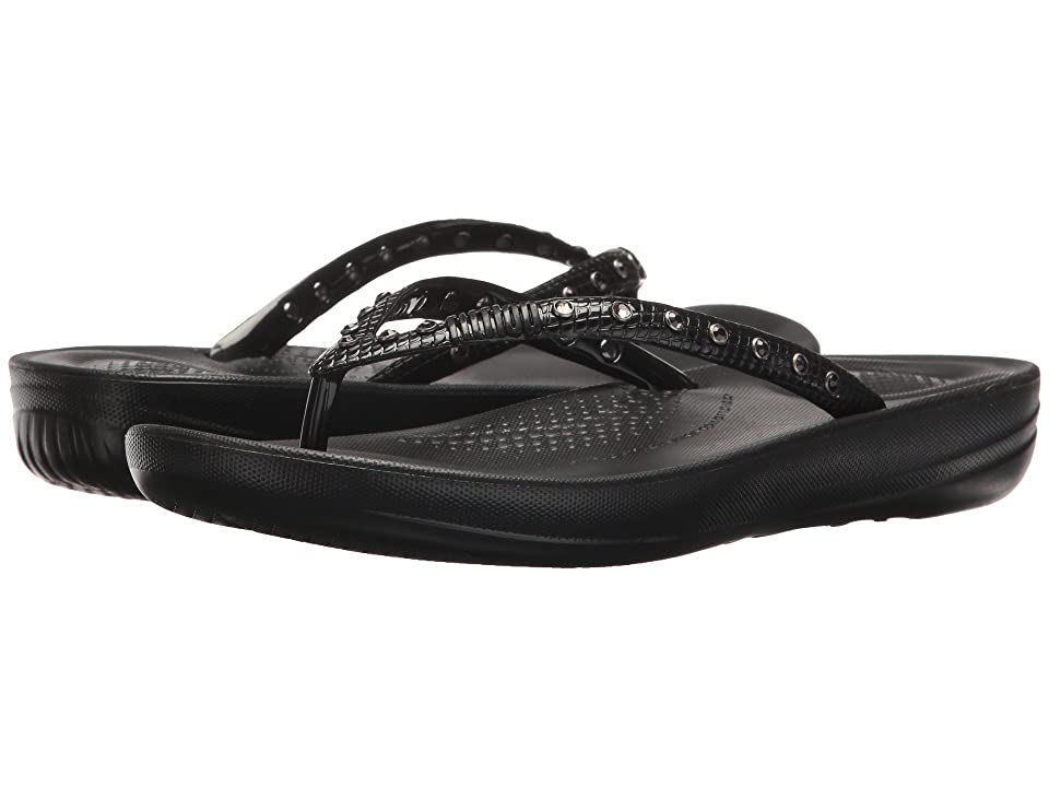 FitFlop Iqushion Ergonomic Flip-Flop (Black) Women's Sandals
