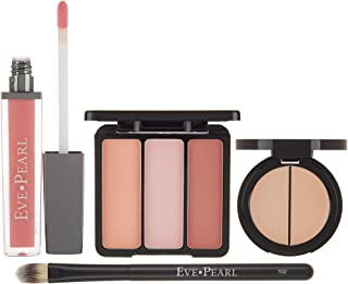 EVE PEARL 4 Pcs Conceal Brighten And Enhance Your Face Dual Salmon Concealer Brush Blush Lip Gloss Set Make Up Kit (Fair)