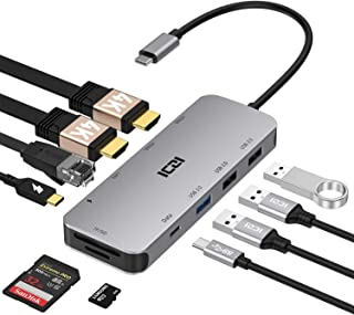 ICZI USB C ハブ 10-in-1 HDMI *2 4K@60Hz / 100W PD 急速充電/LAN イーサネット 1Gbps / USB-C 3.0 & USB-A 3.0 5Gbps / USB 2.0 *2 / TF&SD カ...
