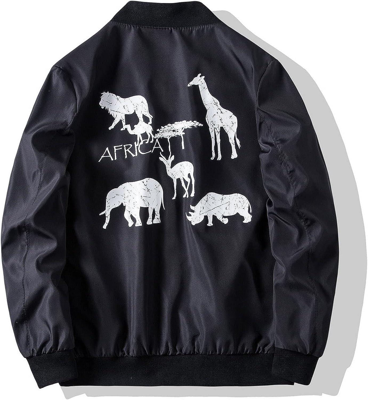Men's Solid Printed Jackets With Pocket, Animal print Modern jacket V312