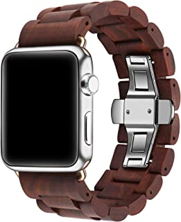 Kinobo Wooden Watch Band Compatible Apple Watch, 100% Eco-Friendly Natural Hardwood Watch Strap Thickened Wrist Bracelet iWatch Series 4, 3, 2, 1, Sport, Edition (Sandalwood-42mm/44mm)