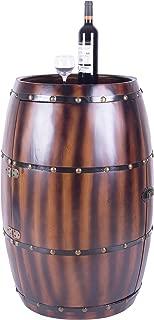 Vintiquewise Barrel Wooden Bar Cabinet End Table with Latch, 27 Bottle Decorative Wine Holder, 20.75