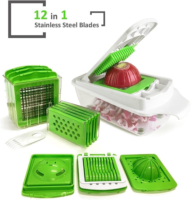 MorNon Vegetable Slicer 11 Multi Adjustable Safe Blade Grater Mandoline Vegetable Chopper Perfect For Onion Cabbage Carrot Potato Tomato Fruit Salad