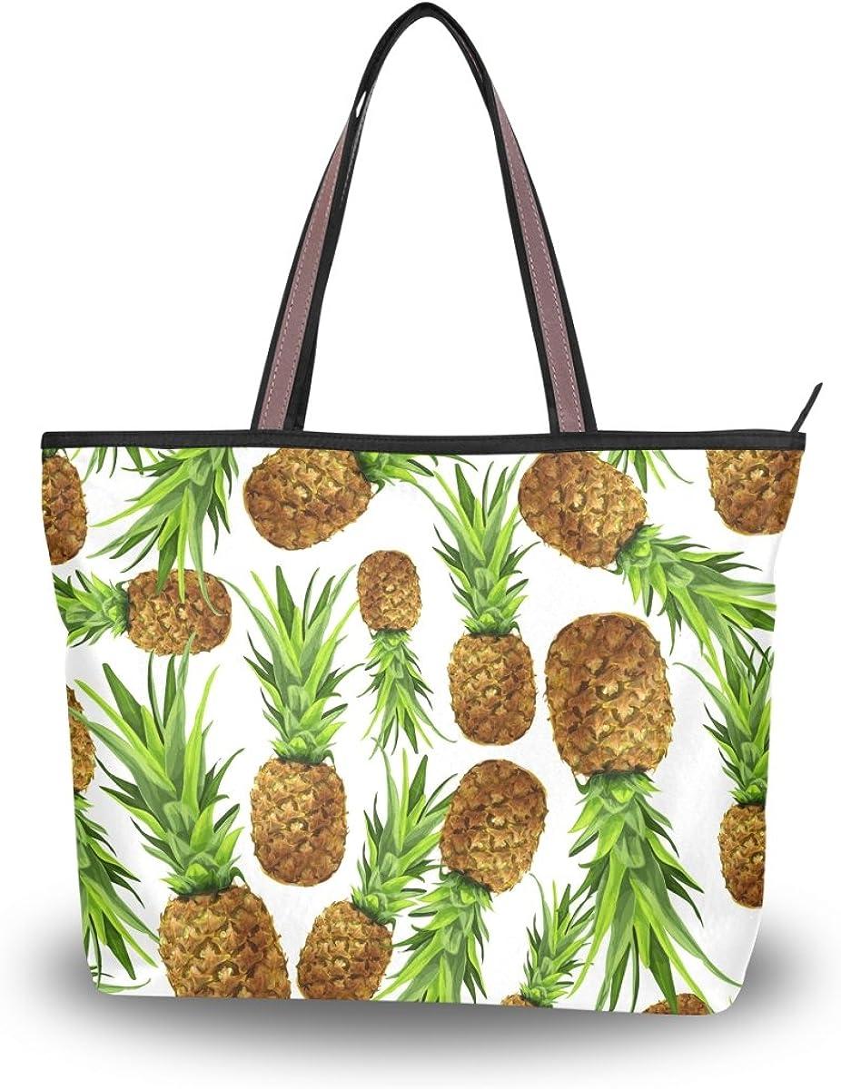 JSTEL Women Large Tote Top Handle Shoulder Bags Pineapple Patern Ladies Handbag L