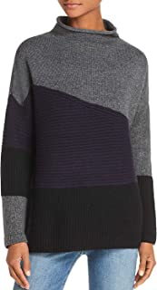 French Connection Women's Patchwork Tonal Colorblocked Sweater Navy Mel Small