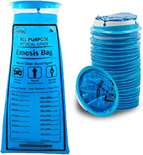 Carebag Medical Grade Emesis Bag - 144 Count - Disposable Emesis Bags for The Car - Designed for Motion Sickness & Morning Sickness - 6 Packs of 24 Travel Size Emesis Bags for on The go use
