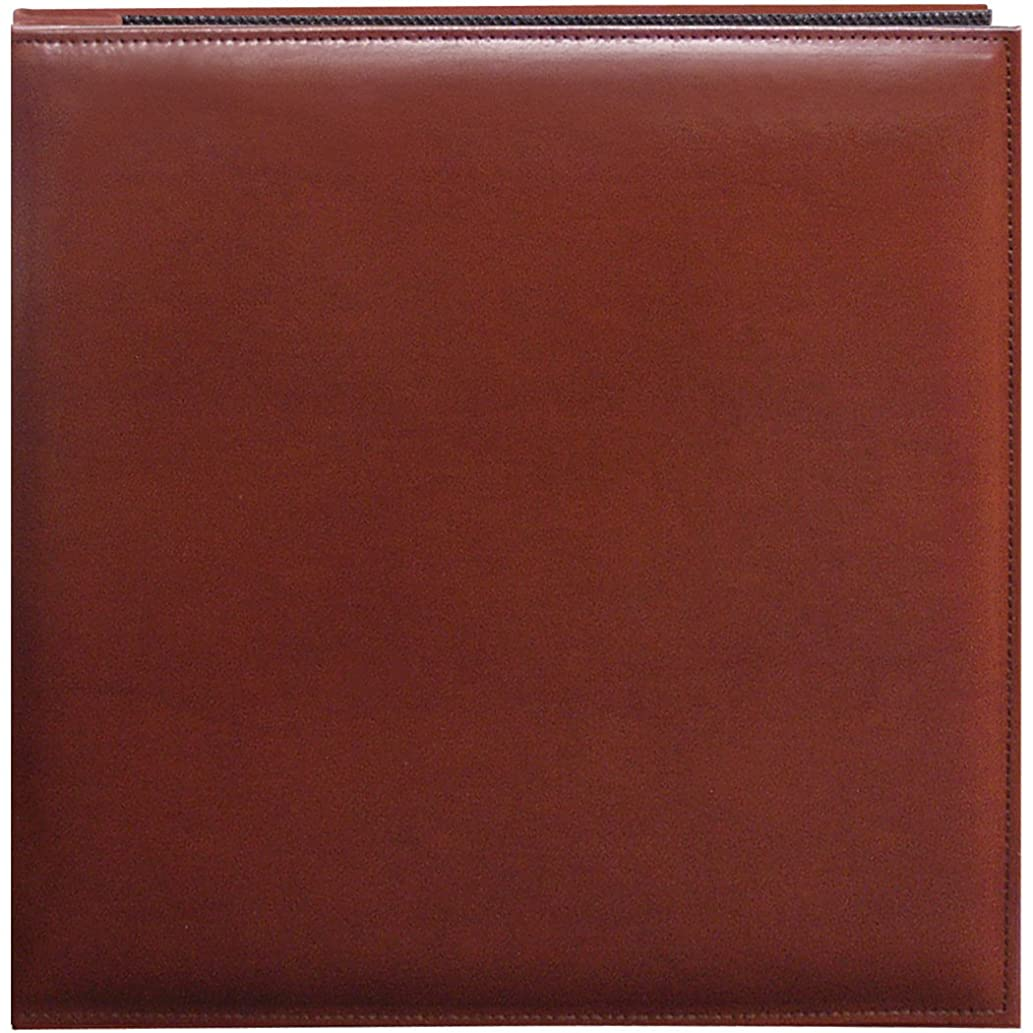 Pioneer 12 Inch by 12 Inch Snapload Sewn Leatherette Cover Memory Book, Brown