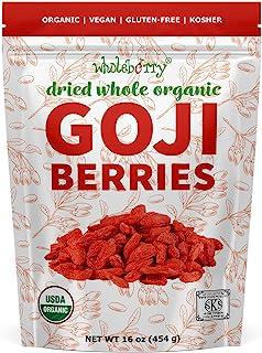 Wholeberry organic wolfberry gouqi Goji berries 16oz| Raw, Vegan, Gluten Free Super food High in Plant Based Protein, Diet...