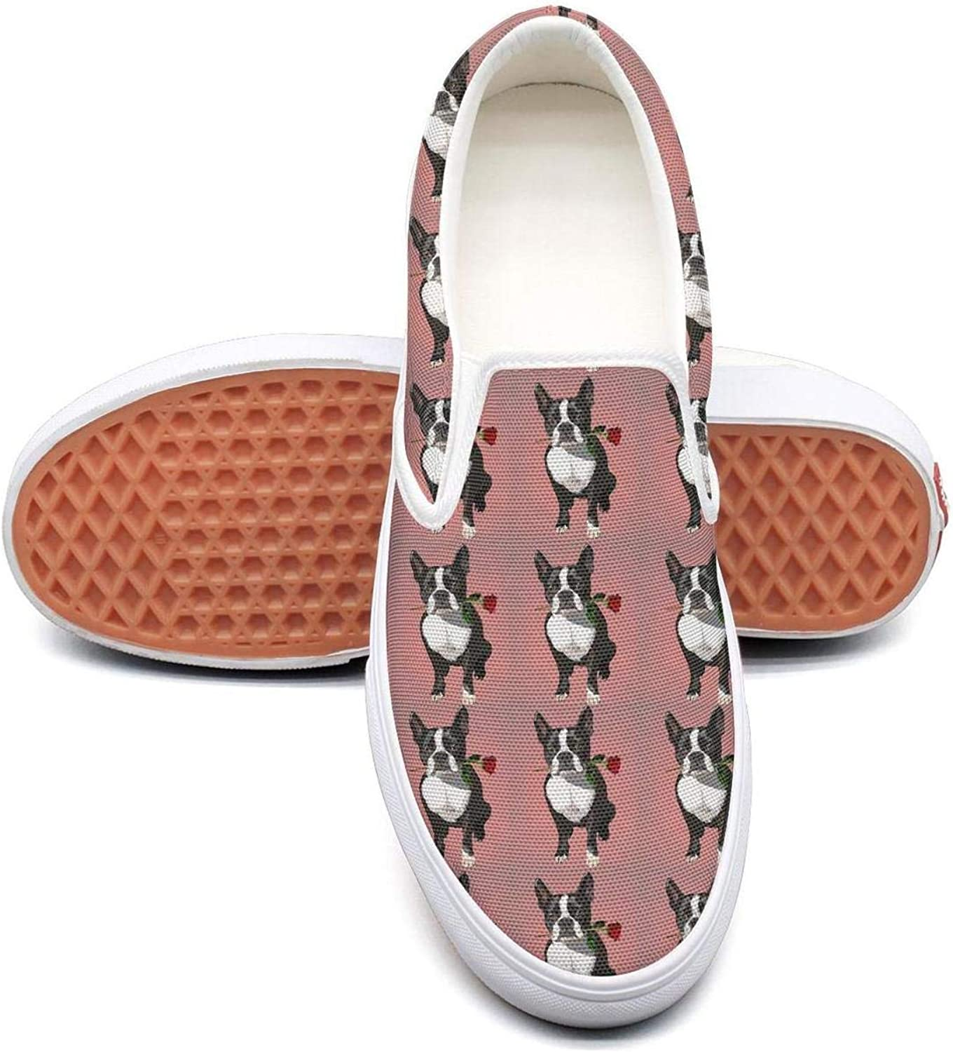 Refyds-es Boston Terrier pink in Mouth Womens Fashion Slip on Low Top Lightweight Canvas Tennis shoes