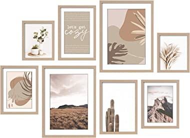 ArtbyHannah 8 Pack Modern Neutral Gallery Wall Kit Decorative Art Prints Picture Frame Collage Wall Art Decor for Home Decora
