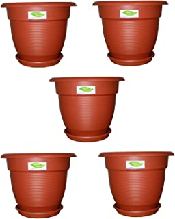 "8"" Elegance Gardening Planters/Pots with Trays - Premium Brown Color (Pack of 5)"