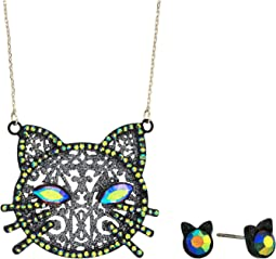 Cat Pendant Necklace & Stud Earrings Set