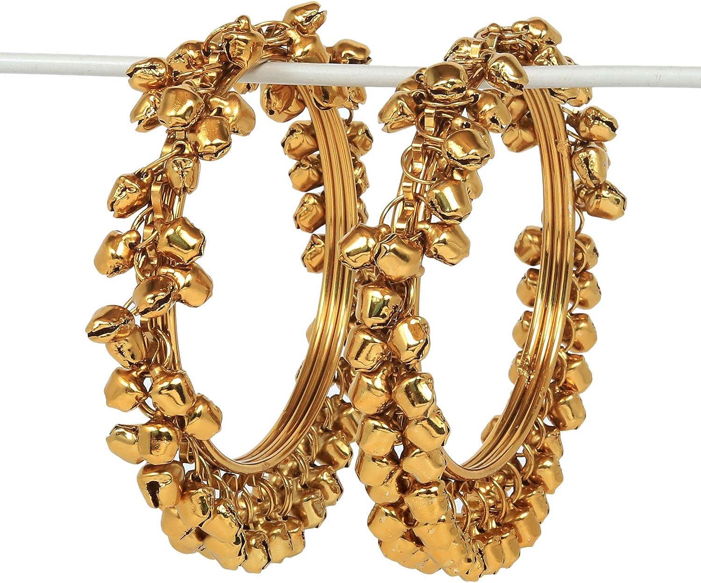 SANARA Traditional Indian Bollywood Antique Gold Plated Multi Color Ghungroo Bangles Women Pakistani Wedding Kada Bracelet Jewelry