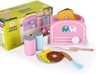 木製模擬トースター、アクセサリーを含むサンドイッチメーカー、子供用キッチン玩具、鮮やかな色