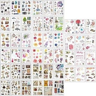 Scrapbooking Sticker, Autocollants En Papier Japonais, 48 Feuilles Fleurs Animaux Aliments Gommettes Décoratifs Cartoon Et...