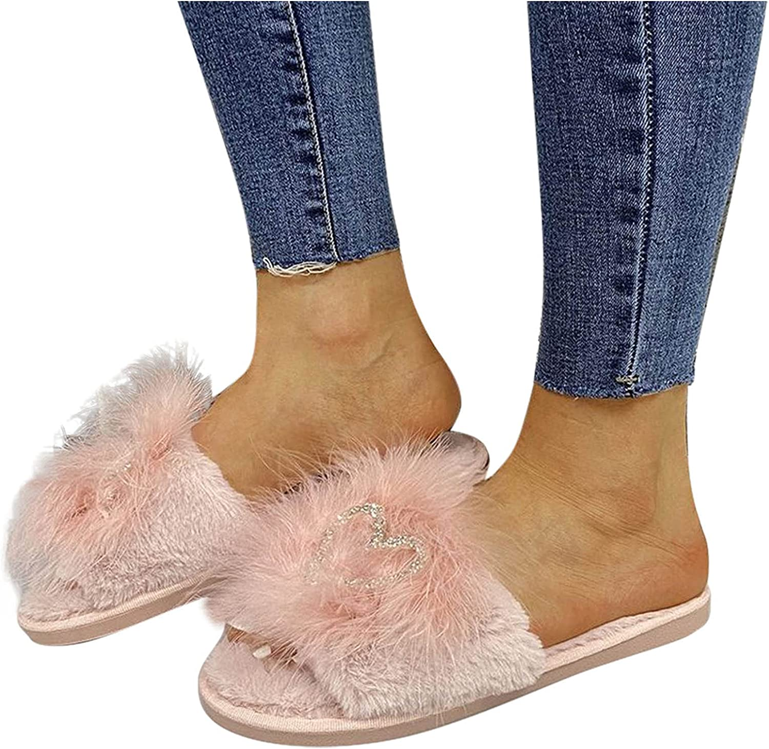 Hunauoo Slippers for Popularity Women Warm Rhinestone Thick Cotton Max 65% OFF