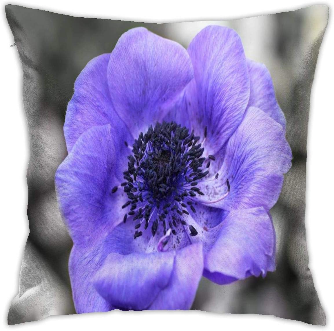 Kansas City Mall Macro Flower Violet Decorative Throw Zipp OFFicial mail order Pillow Cover Invisible
