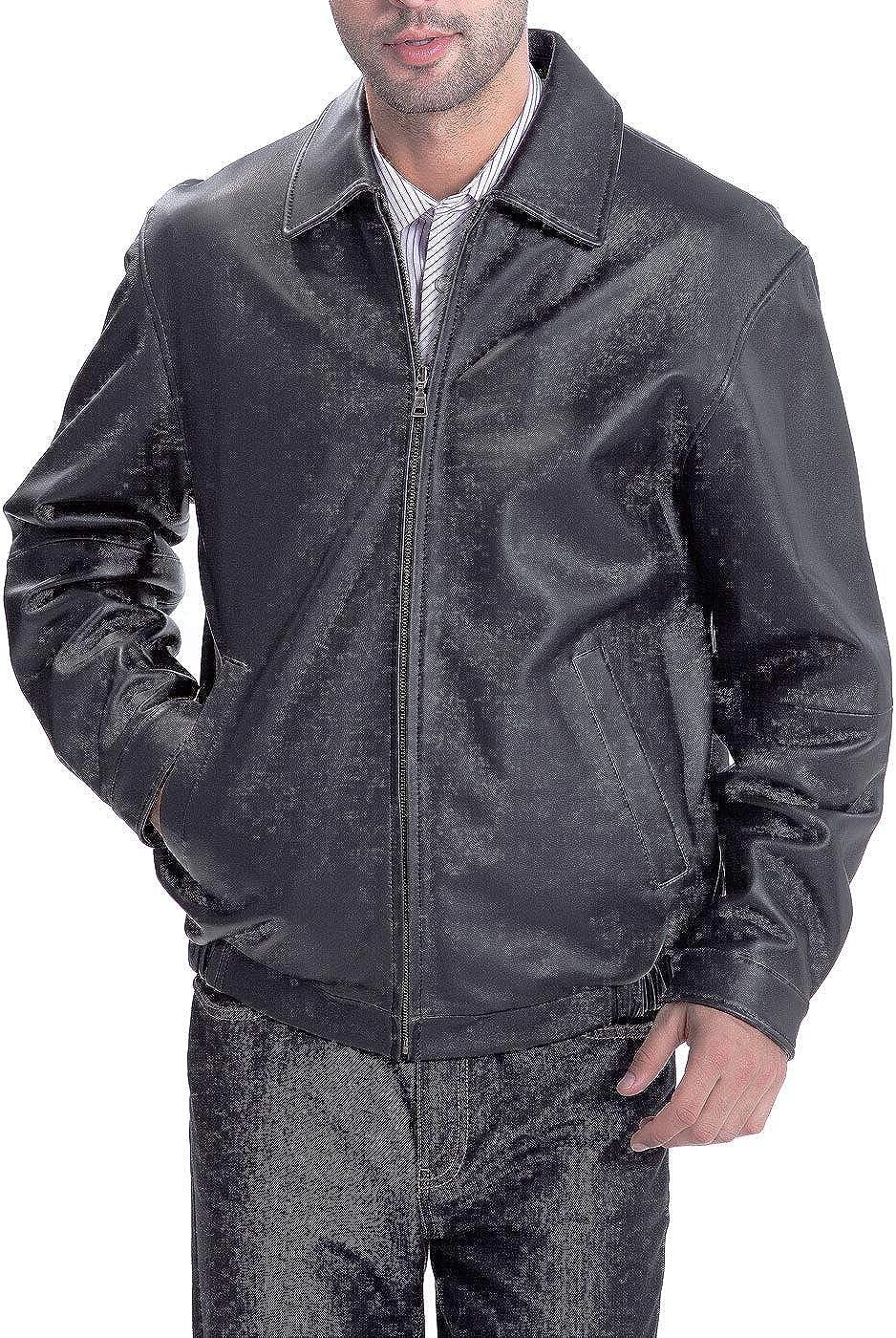 BGSD Men's Derrick Lambskin Leather Bomber Jacket (Regular and Big & Tall)