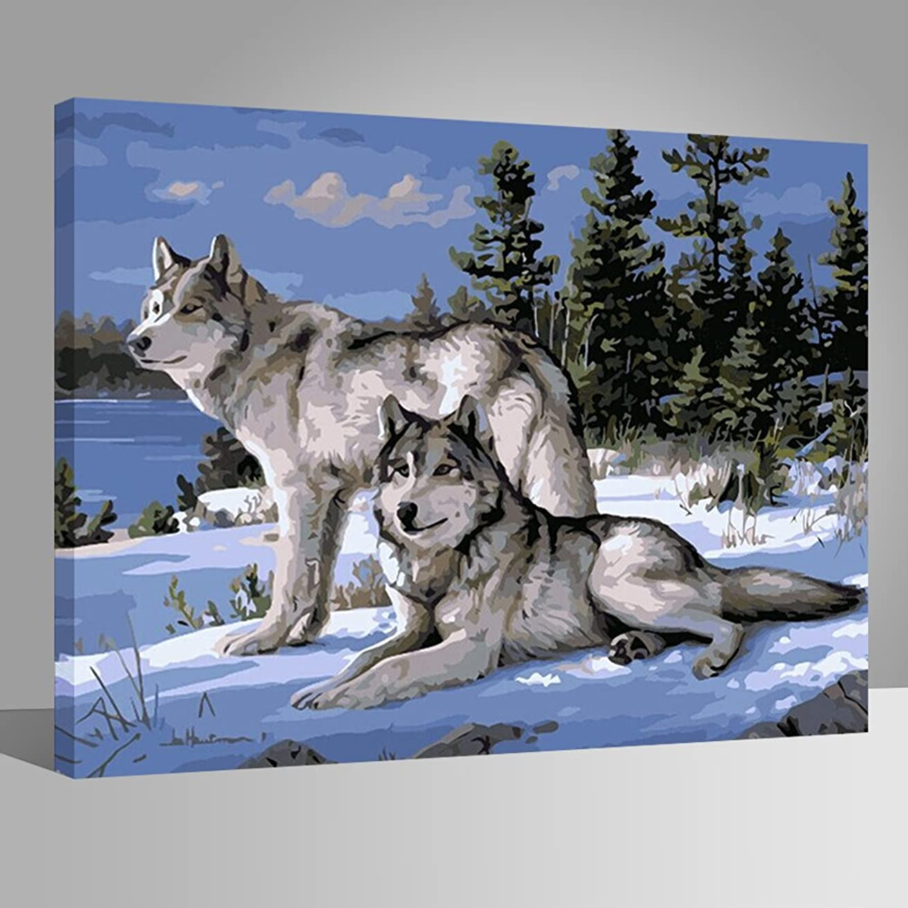 LIUDAO DIY Oil Painting on Canvas Paint by Number Kit for Adult - Animal Wolf -16x20 Inches Wooden Frame