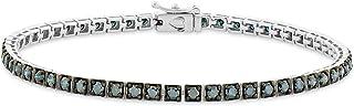 Femme Luxe 3.00 Carat Blue Round Diamond Tennis Bracelet, 925 Sterling Silver, 7 inch Length, Gift Ready Box