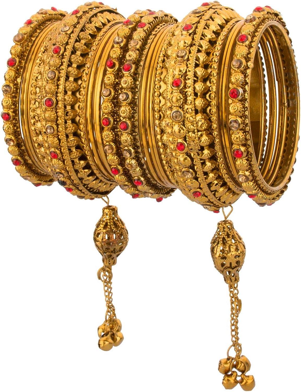 Efulgenz Boho Vintage Antique Gypsy Tribal Indian Oxidized Gold Plated Crystal Tassel Bracelets Bangle Set Jewelry