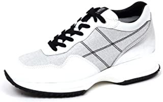 Hogan F2494 Sneaker Donna Silver/White Interactive Shimmering Tissue Shoe Woman