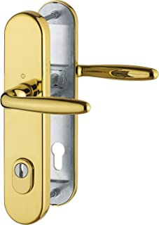 Hoppe Verona Safety Handle Fitting–ö Standard Spacing 88mm Long Plate Cylinder Lock for Doors 62to 72mm with Cylinder Protection Class 3, Pack of 1, 3896551