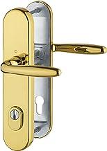 HOPPE 3896551 veiligheidskrukgarnituur Verona-Ö-norm afstand 88 mm, gepolijst messing, lange plaat profielcilinder voor de...