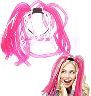 Light Up Hair - Toy Cubby LED Party Rave Disco Flashing Noodle Wig - Light Glowing Royal Pink Dreads. Ideal For Halloween, Dress Up Parties, Masquerades...And So Much More! Be Refined!