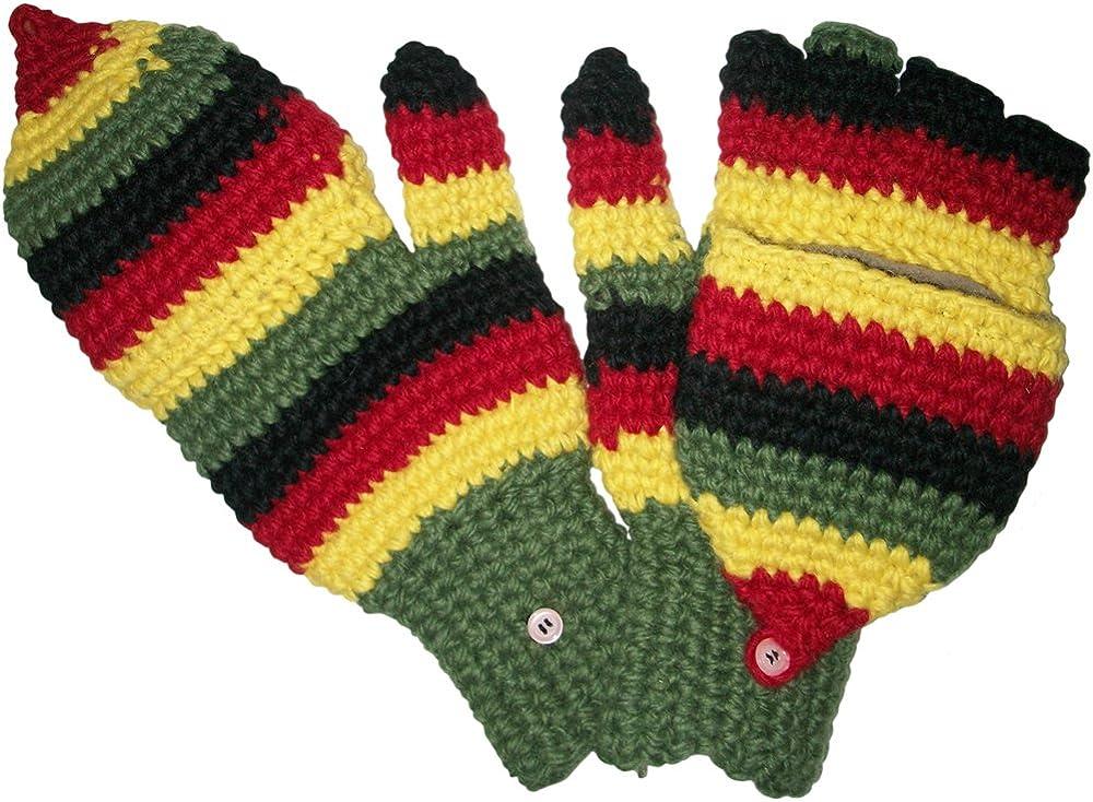 Authentic Soul Rasta Hand Knit Wool Fingerless Gloves Mittens Glittens Unisex