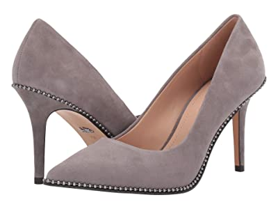 COACH 85 mm Waverly Pump with Beadchain (Heather Grey Suede) Women