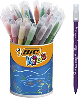 BIC Kids Kid Couleur Feutres de Coloriage à Pointe Moyenne - Couleurs Assorties, Pot de 36