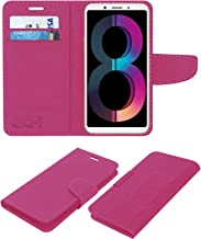 Acm Leather Flip Wallet Case Compatible with Oppo A83 (2018 Edition) Mobile Cover Pink