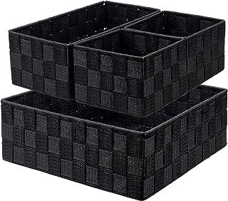 WUWEOT Lot de 4 Panier de Rangement Salle de Bain sans Couvercle en Aspect Rotin Organiseur de Salle de Bain en Nylon Pani...