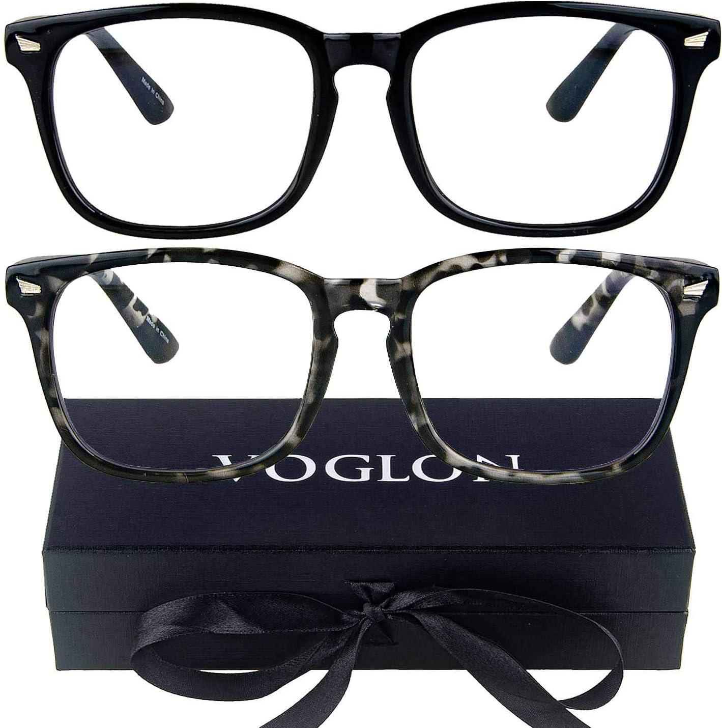 VOGLON Blue Light Blocking Glasses, Computer Screen Gaming Glasses, Gamma Ray Blocking, Oversized Round Anti Glare UV Eyestrain/Filter for Women Men Small Face (2 Pack) Black + Tortoise