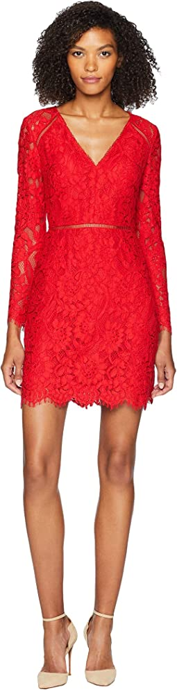 Long Sleeve V-Front Cocktail Dress