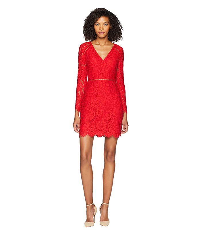ML Monique Lhuillier Long Sleeve V-Front Cocktail Dress (Red) Women