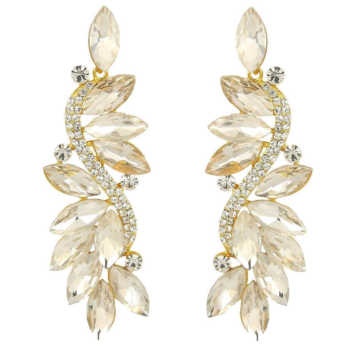 EVER FAITH Austrian Crystal Party Marquise Shape Leaf Pierced Dangle Earrings