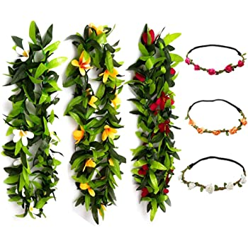 12 PCS Flower Leis Necklace for Wedding Party or School Graduation Party,Luau Party Leis