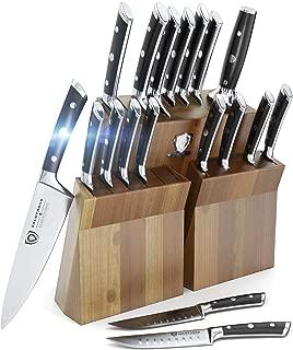 DALSTRONG Knife Set Block - Gladiator Series Colossal Knife Set - German HC Steel - 18 Pc - Walnut Stand