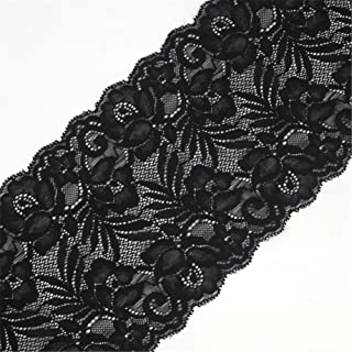 5 Yards Floral Lace Ribbon Stretch Tulle Lace Trim Elastic Webbing Fabric for DIY Jewelry Making Craft Clothes Accessories Gift Wrapping Wedding Party Decoration (Black)
