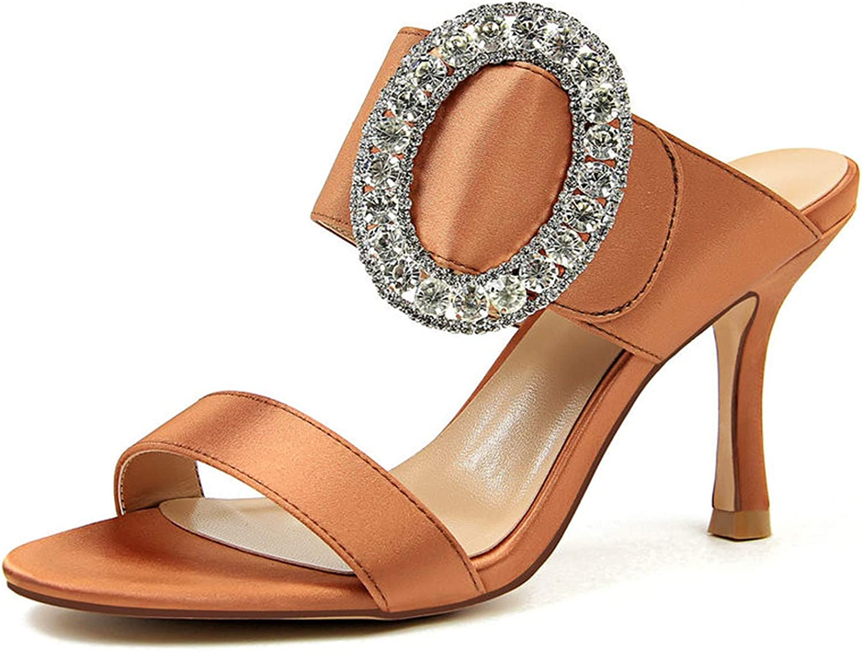 GEKX Size 34-40 Women Sexy Silk Slippers Female Outdoor Slides Ladies Metal Dress shoes Women 8.5cm High Heels shoes