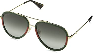 Gucci GG0062S 003 Gold/Green GG0062S Pilot Sunglasses Lens Category 3 Size 57