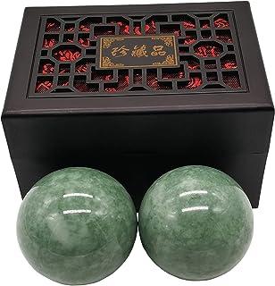 "BCQLI 2""Greenish Stone Baoding Balls,Hand Exercise Tool"