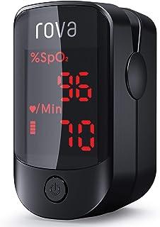 Oxímetro de Pulso Rova, Oxímetro de Dedo, Pulsioximetro de Dedo Portátil con Pantalla OLED Omnidireccional, Monitor de Ritmo Cardíaco, Operación con un solo botón(incluye pilas y cordón)